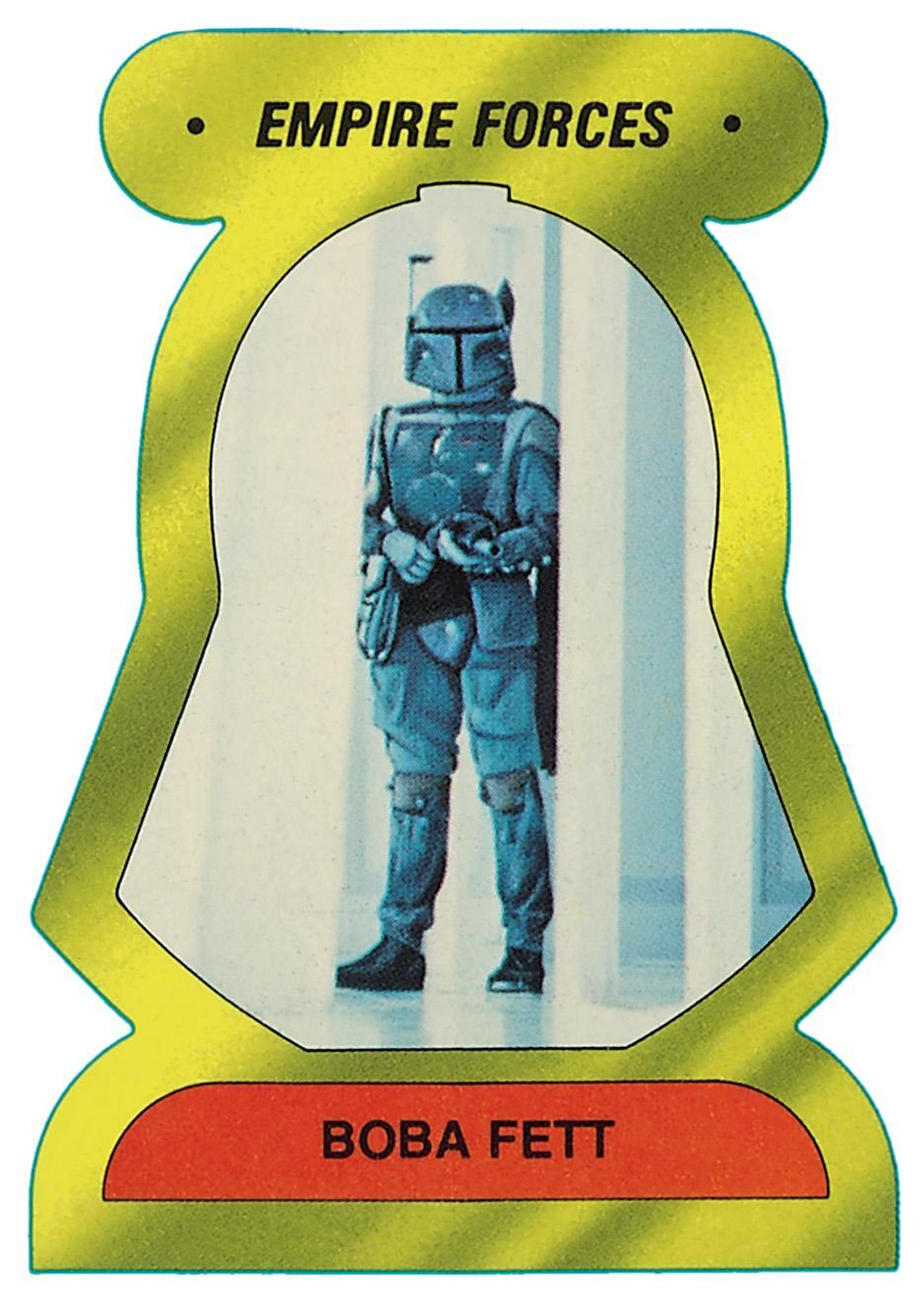 <p>Never identified by his name in <i>Empire</i>, the bounty hunter nonetheless became a fan favorite. (Credit: The Topps Company and Lucasfilm Ltd (C) Abrams Books) </p>
