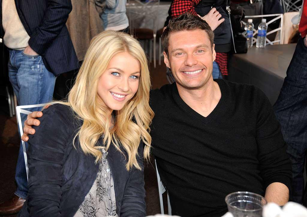 "Ryan Seacrest and his gal pal Julianne Hough were all smiles at FOX's Super Bowl XLV Pregame Show. Kevin Mazur/<a href=""http://www.wireimage.com"" target=""new"">WireImage.com</a> - February 6, 2011"