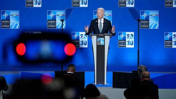 PHOTO: President Joe Biden speaks during a news conference at the NATO summit at NATO headquarters in Brussels, June 14, 2021. (Patrick Semansky/AP)