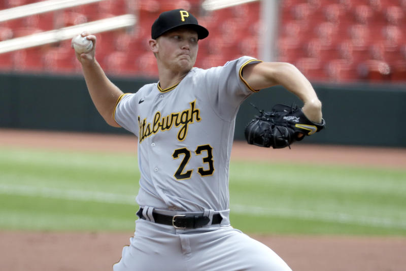 Pittsburgh Pirates starting pitcher Mitch Keller throws during the first inning of a baseball game against the St. Louis Cardinals Sunday, July 26, 2020, in St. Louis. (AP Photo/Jeff Roberson)