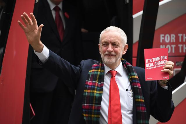 Britain's Labour Party leader Jeremy Corbyn holds up a copy of their general election manifesto as he arrives for a manifesto launch event in Birmingham, northwest England on November 21, 2019. Photo: OLI SCARFF/AFP via Getty Images