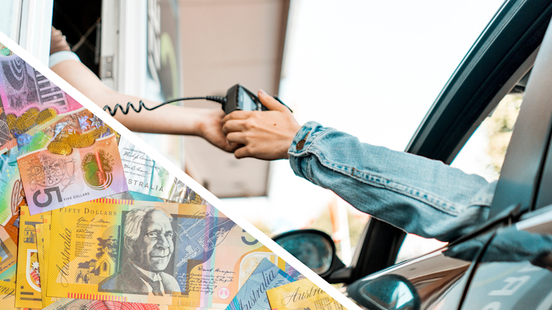 Pictured: Person paying with mobile phone tap and go at drive thru, Australian cash. Images: Getty