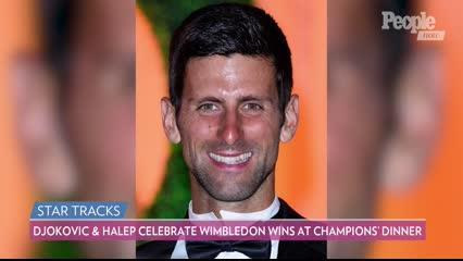 Halep scored her first win, while Djokovic celebrated his fifth, at the Wimbledon Champions Dinner