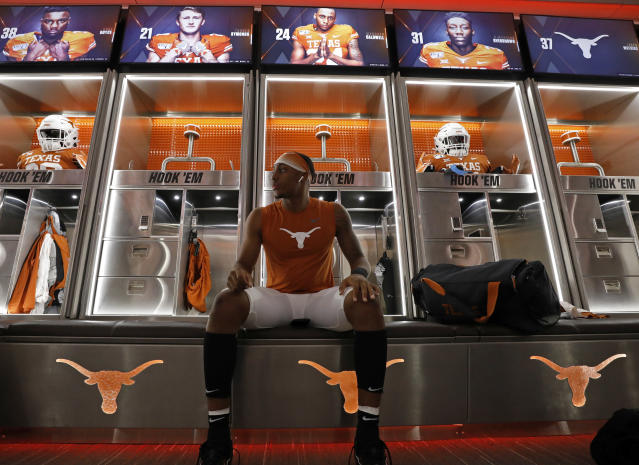 Texas Longhorns defensive back Marques Caldwell #24 relaxes prior to the game against the LSU Tigers, Saturday Sept. 7, 2019 at Darrell K Royal-Texas Memorial Stadium in Austin, Tx. ( Photo by Edward A. Ornelas )