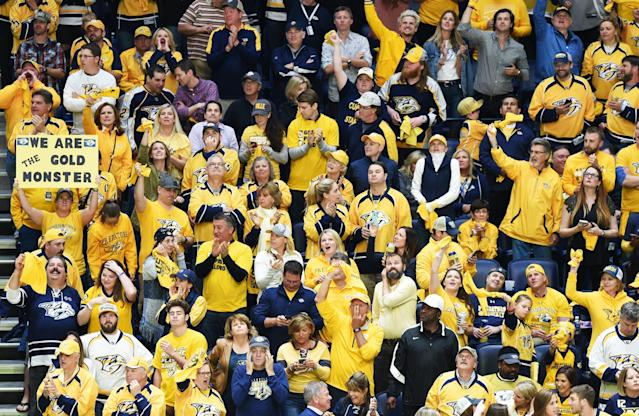 <p>Fans look on in Game Six of the Western Conference Final between the Nashville Predators and the Anaheim Ducks during the 2017 Stanley Cup Playoffs at Bridgestone Arena on May 22, 2017 in Nashville, Tennessee. (Photo by Sanford Myers/Getty Images) </p>