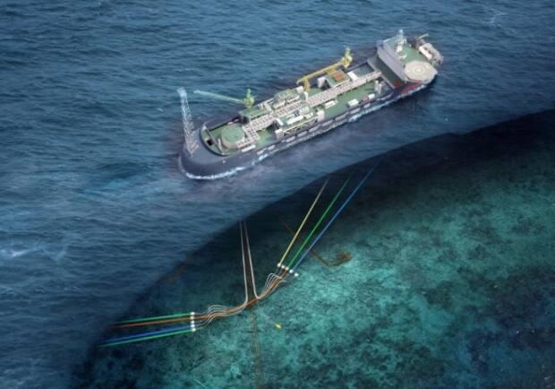 If the Bay du Nord oil find in Newfoundland's offshore is developed by Equinor and its partner, Husky Energy, the companies will use a floating, production, storage and offloading vessel like the one pictured in this rendering. (Equinor - image credit)