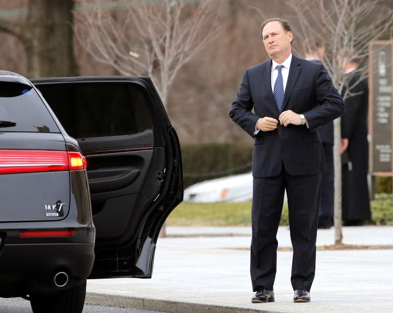 US Supreme Court Justice Alito arrives for the funeral of Associate Justice Scalia at the Basilica of the National Shrine of the Immaculate Conception in Washington