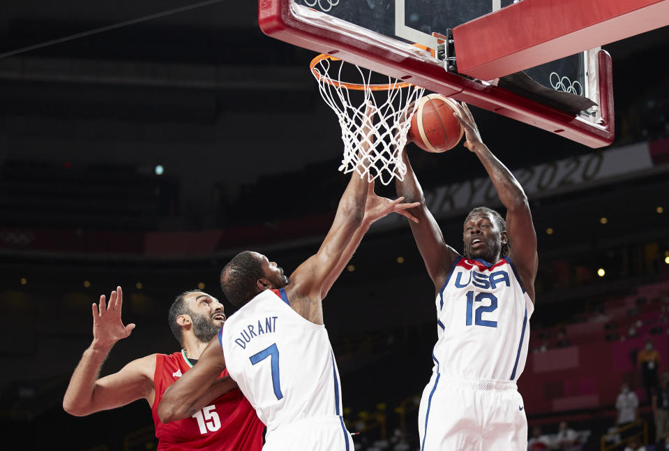 Kevin Durant and Jrue Holiday will try to help Team USA to another blowout win in Tokyo. (Photo by Berengui/DeFodi Images via Getty Images)