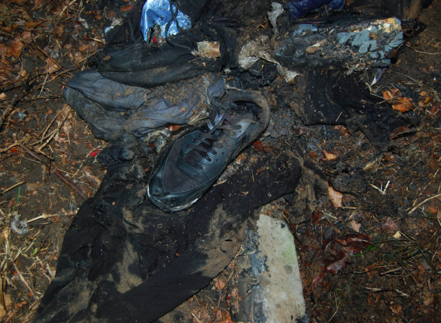 Burnt clothes owned by Ayoub Majdouline found after the murder (PA)