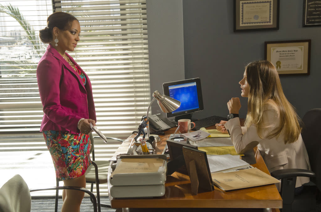 "Lauren Velez as Maria LaGuerta and Jennifer Carpenter as Debra Morgan in the ""Dexter"" episode, ""Run."""