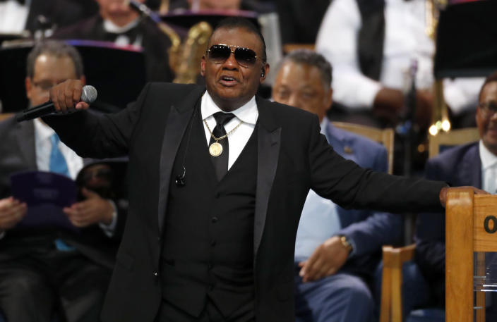Ron Isley performs during the funeral service for Aretha Franklin at Greater Grace Temple, Friday, Aug. 31, 2018, in Detroit. Franklin died Aug. 16, 2018 of pancreatic cancer at the age of 76. (AP Photo/Paul Sancya)