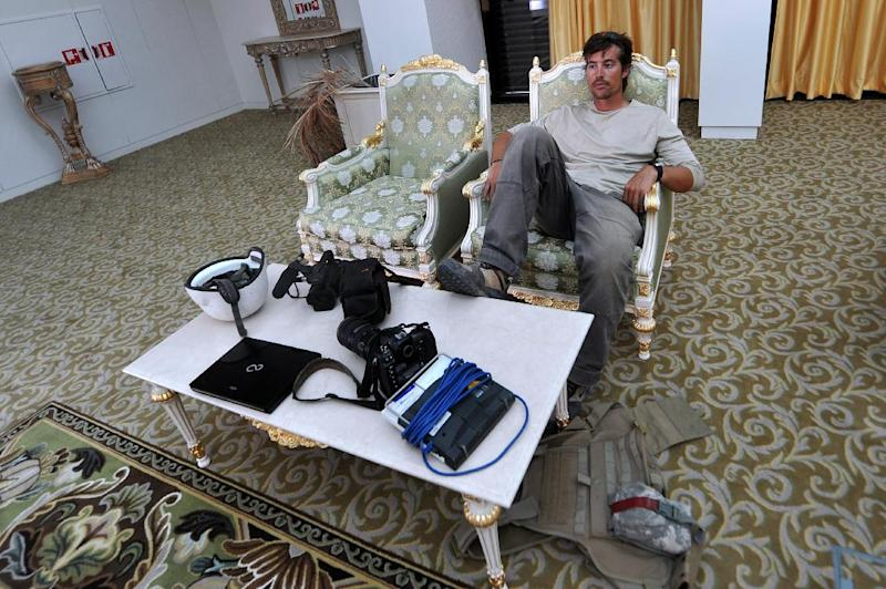 US freelance reporter James Foley at the airport of Sirte, Libya on September 29, 2011