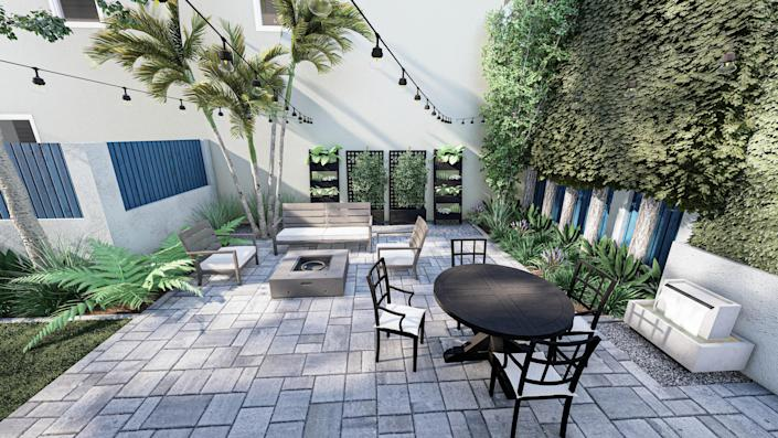 The rendering of my renovated backyard includes a YardBird Lily five-piece dining set, a Regatta sofa and lounge chair from Crate and Barrel, and an Olivet fire pit from Wayfair.