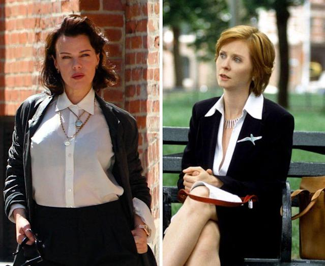 Maggie (Debi Mazar) and Miranda (Cynthia Nixon). (Photos: SplashNews, HBO)