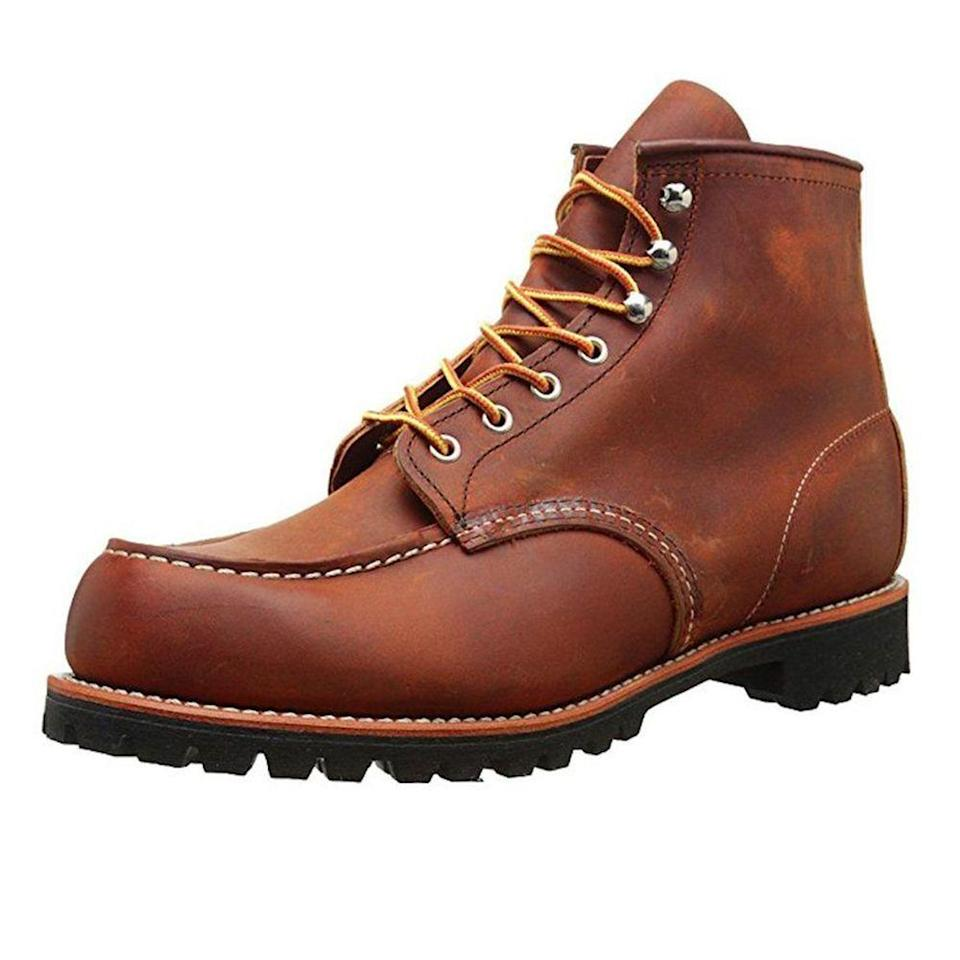 """<p><strong>Red Wing</strong></p><p>amazon.com</p><p><a href=""""http://www.amazon.com/dp/B011B6T74Q/?tag=syn-yahoo-20&ascsubtag=%5Bartid%7C2139.g.19520579%5Bsrc%7Cyahoo-us"""" rel=""""nofollow noopener"""" target=""""_blank"""" data-ylk=""""slk:BUY IT HERE"""" class=""""link rapid-noclick-resp"""">BUY IT HERE</a></p><p>Red Wing Heritage boots may be more expensive than other boots on the market, but they're an investment piece that dad will have for the rest of his life. Plus, he'll think of you whenever he steps into them.</p>"""