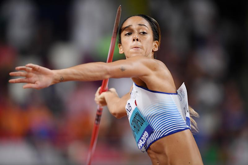 DOHA, QATAR - OCTOBER 03: Katarina Johnson-Thompson of Great Britain competes in the Women's Heptathlon Javelin Throw during day seven of 17th IAAF World Athletics Championships Doha 2019 at Khalifa International Stadium on October 03, 2019 in Doha, Qatar. (Photo by Matthias Hangst/Getty Images)