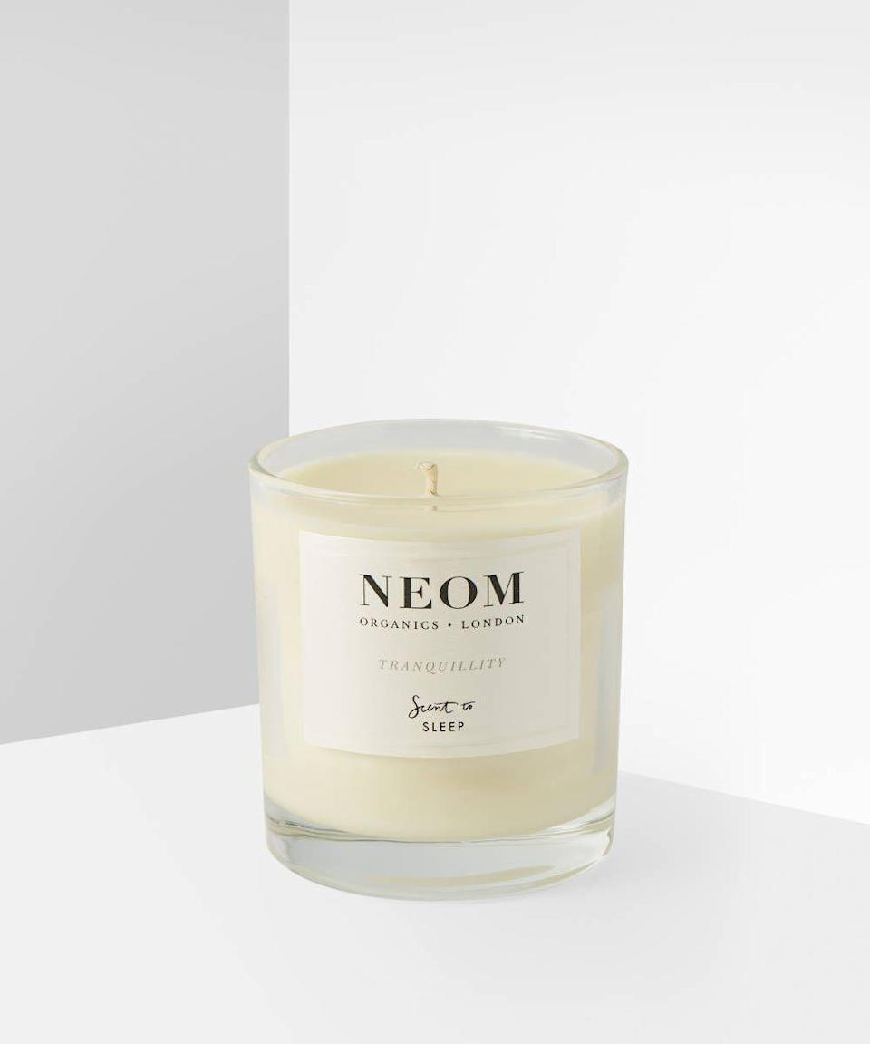 """<p><strong>NEOM</strong></p><p>beautybay.com</p><p><strong>$18.00</strong></p><p><a href=""""https://go.redirectingat.com?id=74968X1596630&url=https%3A%2F%2Fwww.beautybay.com%2Fp%2Fneom%2Ftranquillity-scented-candle%2F&sref=https%3A%2F%2Fwww.womansday.com%2Frelationships%2Ffamily-friends%2Fg3271%2Fgifts-for-pregnant-women%2F"""" rel=""""nofollow noopener"""" target=""""_blank"""" data-ylk=""""slk:Shop Now"""" class=""""link rapid-noclick-resp"""">Shop Now</a></p><p>Pregnancy can be stressful. Help her find some peace with the scent of tranquility throughout the home. And with a blend of 19 essential oils, her senses will be in heaven.</p>"""