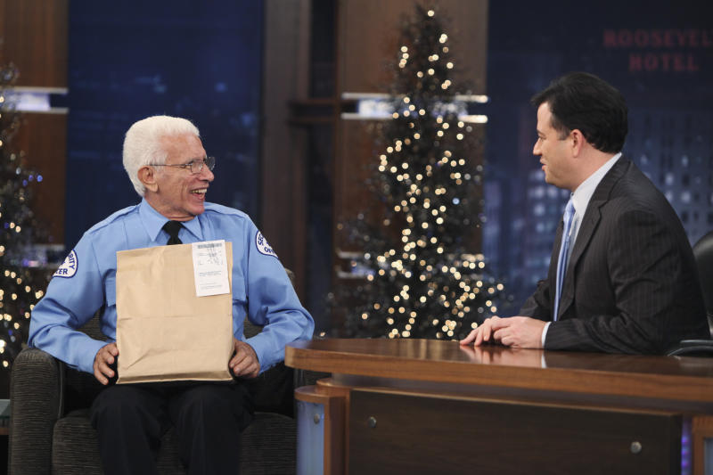 "In this Dec. 16, 2010 photo released by ABC, late night talk show host Jimmy Kimmel, right, talks with his Uncle Frank Potenza on the set of ""Jimmy Kimmel Live"" in the Hollywood section of Los Angeles. Potenza, who handled both security and comedy on ABC's ""Jimmy Kimmel Live!"", died Tuesday, Aug. 23, 2011 at the age of 77. (AP Photo/ABC, Adam Larkey)"