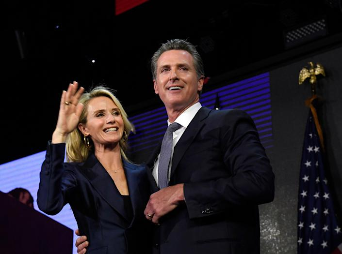 California Governor Gavin Newsom and his wife Jennifer Siebel Newsom, pictured in 2018 (Getty Images)