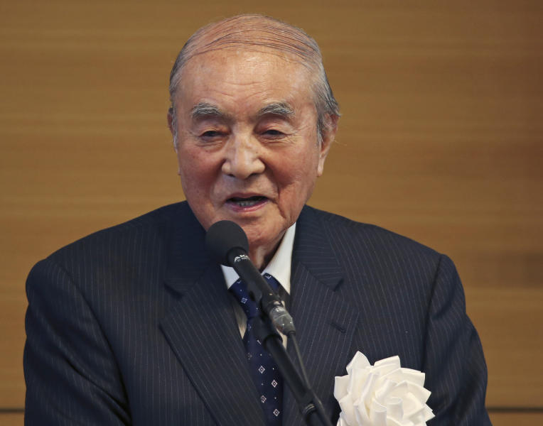 In this May 1, 2015 file photo, former Japanese Prime Minister Yasuhiro Nakasone delivers a speech during the annual meeting on Japan's constitution reform in Tokyo. One of Japan's most prominent former leaders, Nakasone has turned 100 years of age, fitting in a country known for longevity Nakasone, born on May 27, 1918, turns 100 on Sunday, May 27. (AP Photo/Koji Sasahara, File)