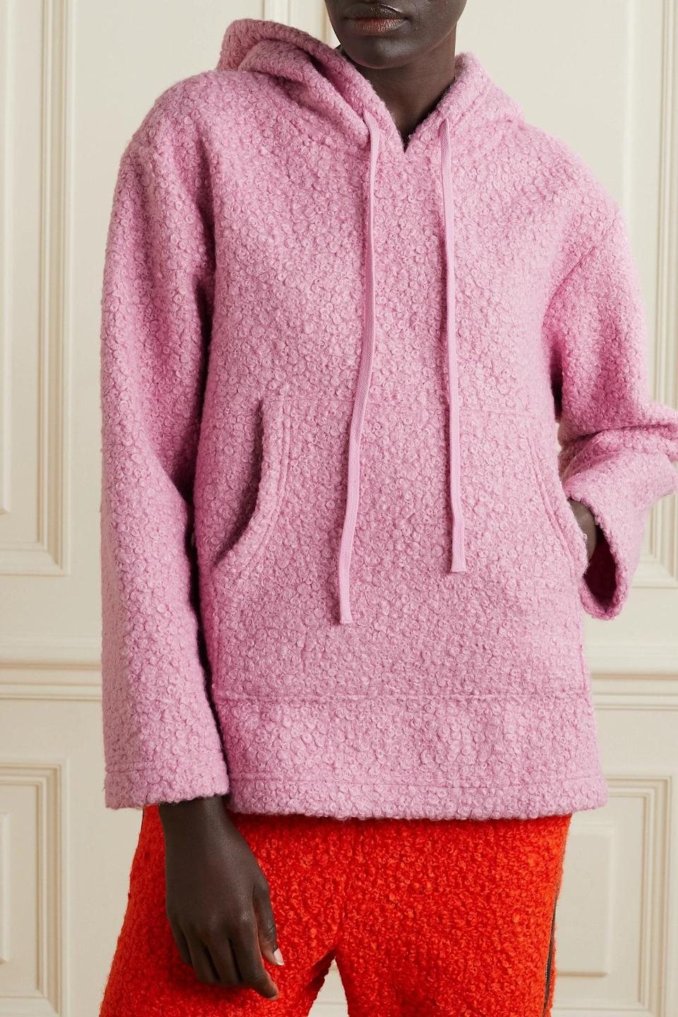 """Gloomy skies are no match to this bubblegum pink hoodie, perfect for brightening up even the most colorless of days. (Okay, and moods.) $245, Net-a-Porter. <a href=""""https://www.net-a-porter.com/en-us/shop/product/staud/clothing/sweatshirts/bear-fleece-hoodie/13452677153213223"""" rel=""""nofollow noopener"""" target=""""_blank"""" data-ylk=""""slk:Get it now!"""" class=""""link rapid-noclick-resp"""">Get it now!</a>"""
