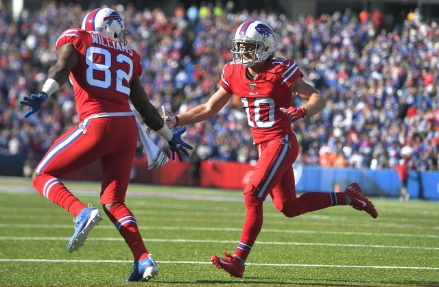 Buffalo Bills wide receiver Cole Beasley, right, celebrates his touchdown catch with Duke Williams in the second half of an NFL football game Miami Dolphins, Sunday, Oct. 20, 2019, in Orchard Park, N.Y. (AP Photo/Adrian Kraus)