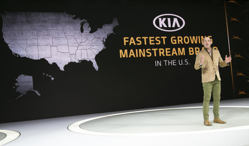 Michael Cole, president of Kia Motors America Inc., speaks at the AutoMobility LA Auto Show in Los Angeles, Wednesday, Nov. 20, 2019. (AP Photo/Damian Dovarganes)