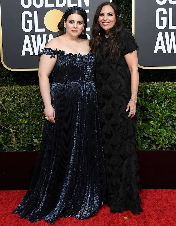 """The <em>Booksmart</em> star brought not one, but two dates to the show: mom Sharon Lyn Chalkin and <a href=""""https://people.com/movies/golden-globes-2020-benie-feldstein-girlfriend-bonnie-chance-roberts-walk-red-carpet/"""">girlfriend Bonnie Chance Roberts.</a>"""