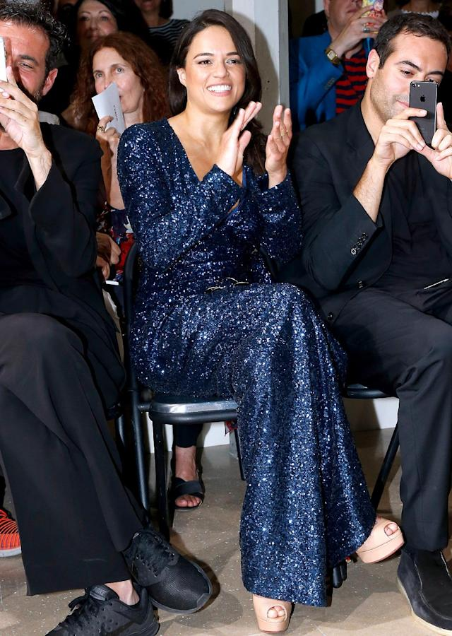 <p>MRod dazzled in blue at the Azzedine Alaia fashion show. Apparently, she liked what she saw, too! (Photo: Bertrand Rindoff Petroff/Getty Images) </p>