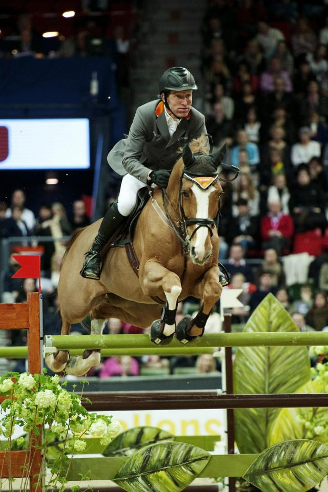 Germany's Ludger Beerbaum riding Gotha competes to win third place in the Rolex FEI World Cup Jumping during the Goteborg Horse Show at the Scandinavium arena in Gothenburg on February 27, 2011. AFP PHOTO / SCANPIX SWEDEN / ERIK ABEL ***SWEDEN OUT*** (Photo credit should read ERIK ABEL/AFP/Getty Images)