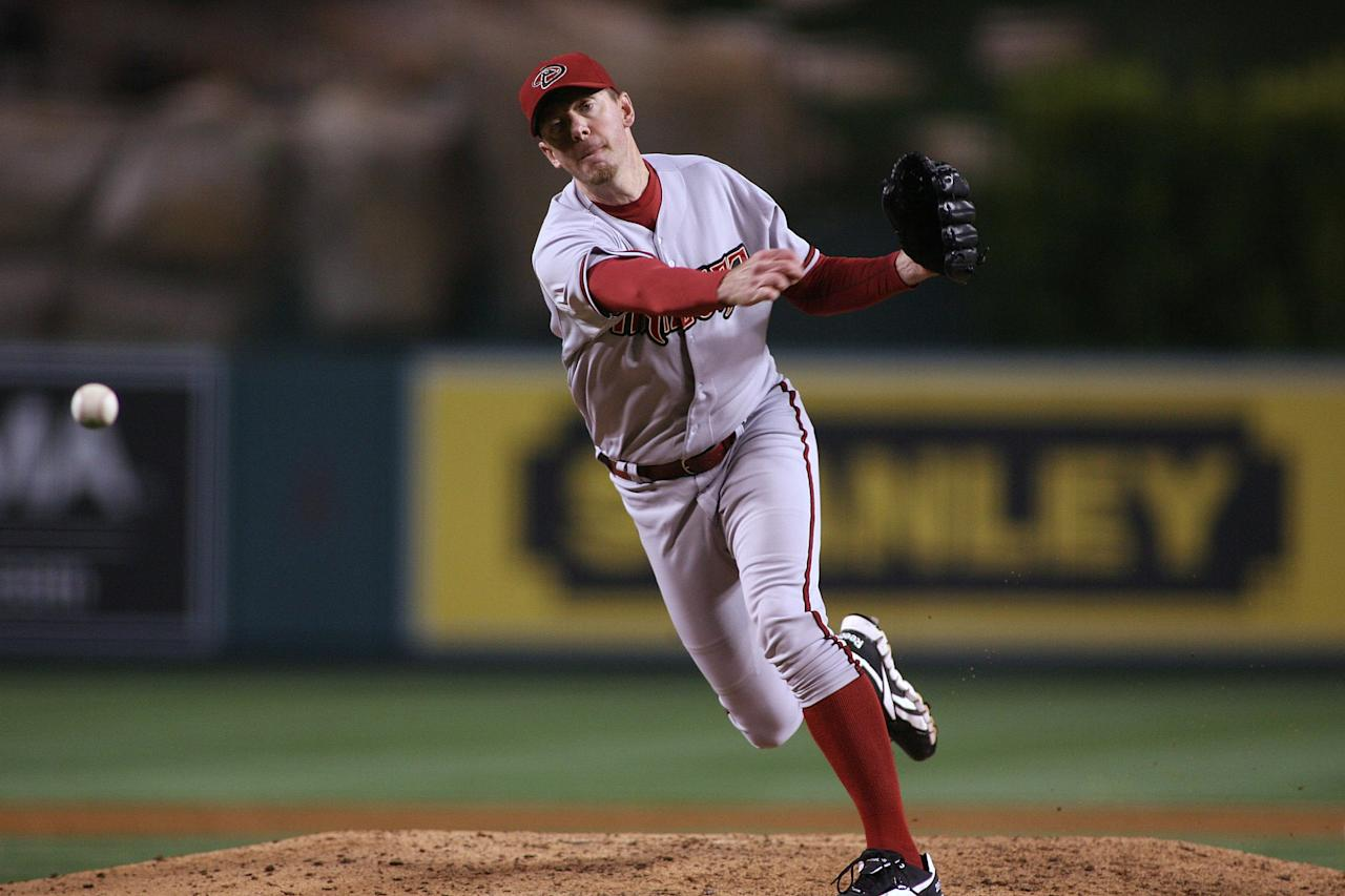 ANAHEIM, CA - JUNE 15:  Brad Ziegler #29 of the Arizona Diamondbacks pitches against the Los Angeles Angels of Anaheim in the eighth inning at Angel Stadium of Anaheim on June 15, 2012 in Anaheim, California.  (Photo by Jeff Golden/Getty Images)