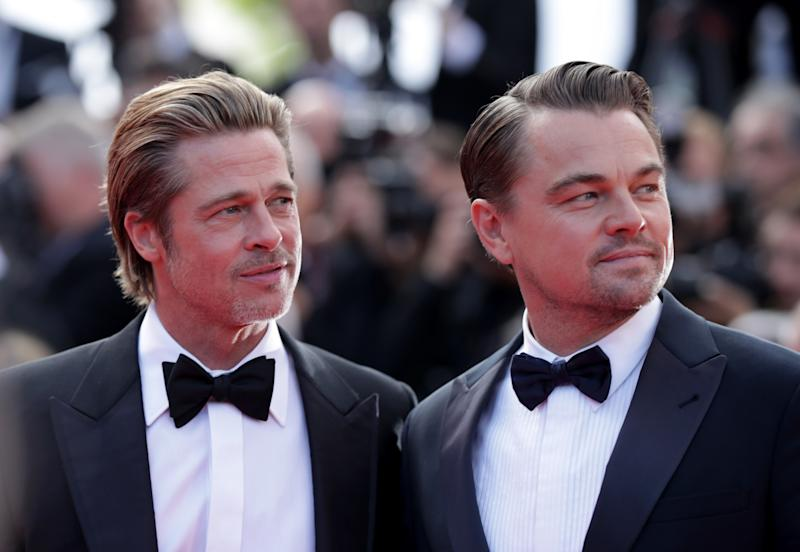 "Brad Pitt and Leonardo DiCaprio at the ""Once Upon A Time In... Hollywood"" Cannes premiere."