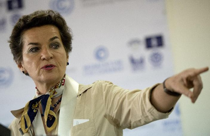 """UNFCCC chief Christiana Figueres said she was pleased that """"many"""" of the tabled contributions """"also speak to longer-term aims representative of progressively increasing ambition over time"""" (AFP Photo/Noel Celis)"""