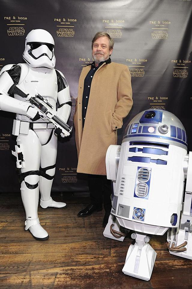 <p>The original Luke Skywalker posed with some of his pals as Disney celebrated the launch of the rag & bone X Star Wars Collection on Wednesday in New York City. (Photo: Craig Barritt/Getty Images for Disney) </p>