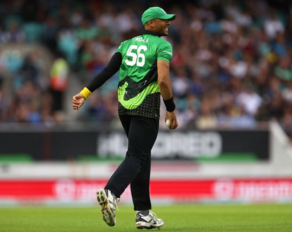 Southern Brave's Tymal Mills celebrates the wicket of Trent Rockets' D'arcy Short (not pictured) during The Hundred Eliminator match at the Kia Oval, London. Picture date: Friday August 20, 2021. (PA Wire)