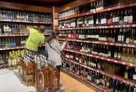 Customers shop for alcoholic beverages at a supermarket in Istanbul