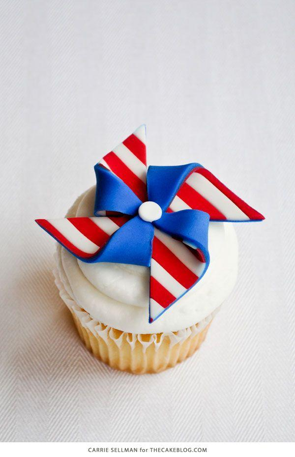 """<p>If you're not familiar with fondant, the step-by-step tutorial makes this surprisingly easy to pull off.</p><p><a href=""""http://thecakeblog.com/2012/07/diy-patriotic-pinwheel-cupcakes.html"""" rel=""""nofollow noopener"""" target=""""_blank"""" data-ylk=""""slk:Get the recipe from The Cake Blog »"""" class=""""link rapid-noclick-resp""""><em>Get the recipe from The Cake Blog »</em></a></p>"""