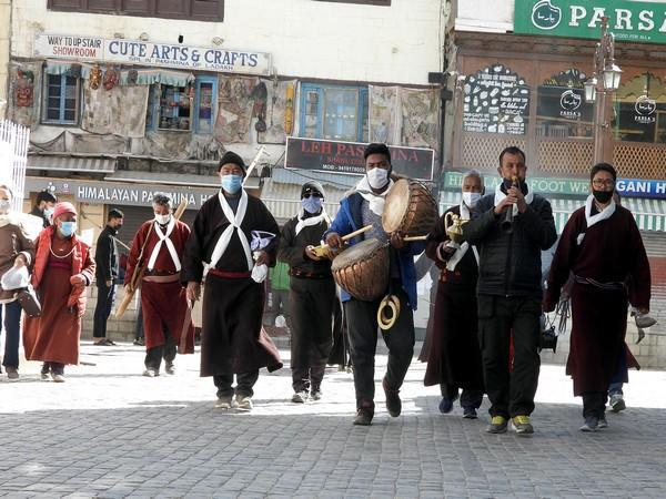 Ladakh Dzo Buddhists beat the drum as they celebrate the Sakka festival in Leh on March 19, 2021. (Photo/ANI)