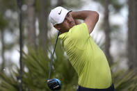 Brooks Koepka tees off on the second hole during the third round of the Workday Championship golf tournament, Feb. 27, 2021, in Bradenton, Fla. (AP Photo/Phelan M. Ebenhack)