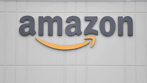 PHOTO: The logo of global technology giant Amazon is seen at the company's JFK8 distribution center on Staten Island in New York City on March 30, 2020. (Angela Weiss/AFP via Getty Images)