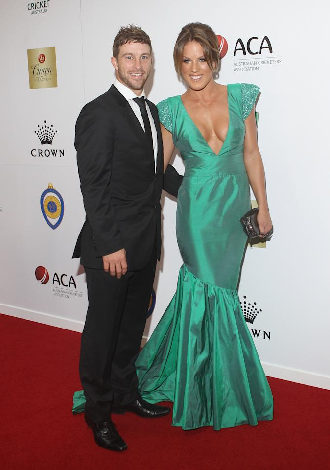 MELBOURNE, AUSTRALIA - FEBRUARY 27: Matthew Wade and Julia Barry arrive at the 2012 Allan Border Medal Awards at Crown Palladium on February 27, 2012 in Melbourne, Australia.  (Photo by Lucas Dawson/Getty Images)