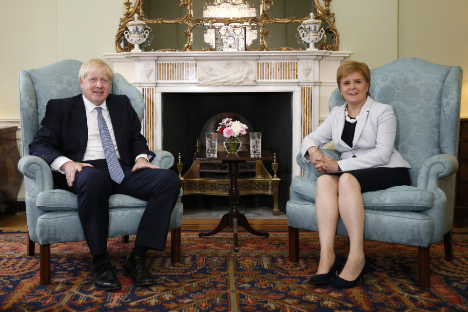 Scotland's First Minister Nicola Sturgeon with Prime Minister Boris Johnson in Bute House in Edinburgh ahead of their meeting.