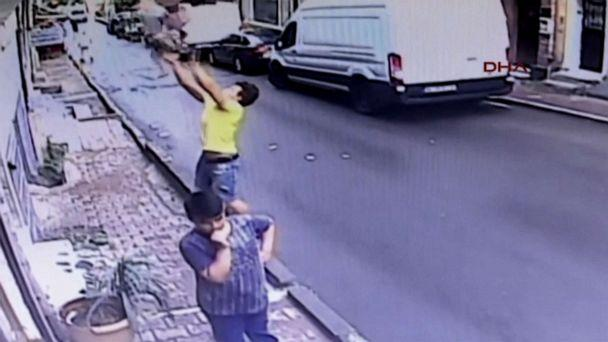 PHOTO: Feuzi Zabaat caught a two-year-old falling from a window in Istanbul. (APTN via DHA)