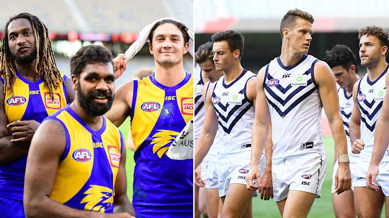 Pictured here, players from West Coast and Fremantle during round one of the AFL.