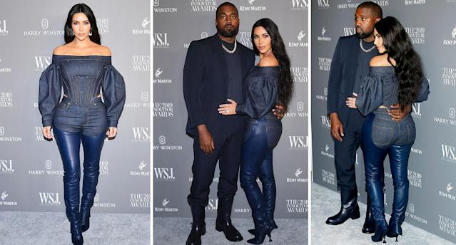 Kim Kardashian wore a denim and leather chaps look designed by Burberry. [Photo: Getty]