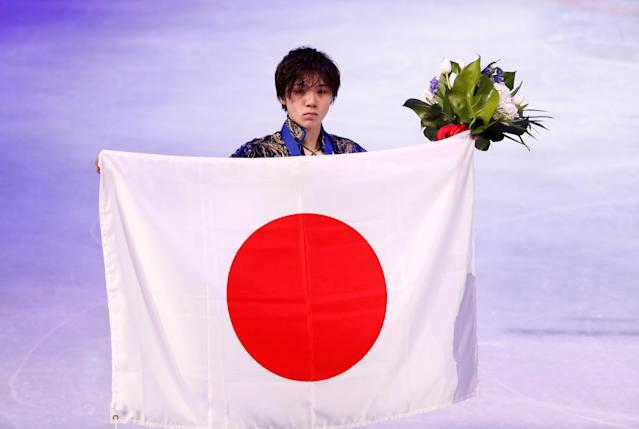 Figure Skating - World Figure Skating Championships - The Mediolanum Forum, Milan, Italy - March 24, 2018 Japan's Shoma Uno poses after winning the silver medal in the Men's Free Skating REUTERS/Alessandro Garofalo