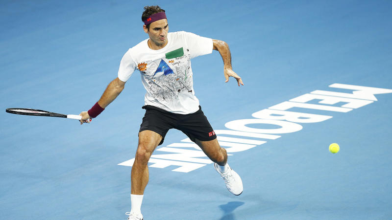 Roger Federer, pictured here practicing ahead of the Australian Open.