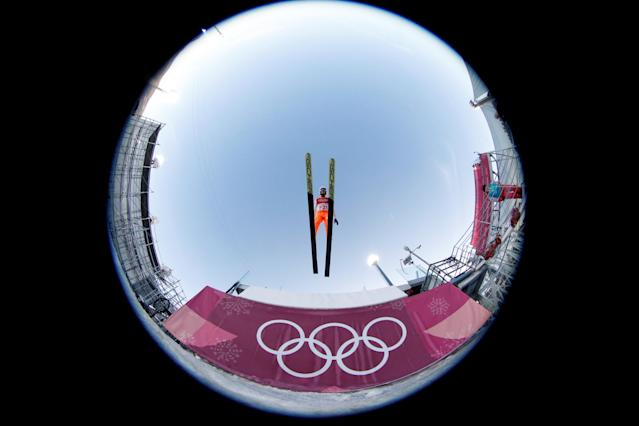 "Nordic Combined Events - Pyeongchang 2018 Winter Olympics - Team LH Training - Alpensia Ski Jumping Centre - Pyeongchang, South Korea - February 21, 2018 - A forejumper in action. Picture taken with a fisheye lens. REUTERS/Jorge Silva SEARCH ""OLYMPICS BEST"" FOR ALL PICTURES. TPX IMAGES OF THE DAY."