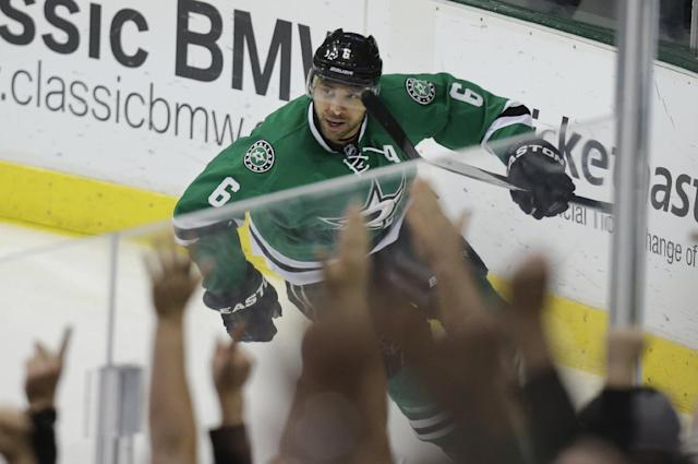 Dallas Stars Trevor Daley celebrates scoring a goal during the second period period of an NHL hockey game against the St. Louis Blues on Friday, April 11, 2014, in Dallas. (AP Photo/LM Otero)