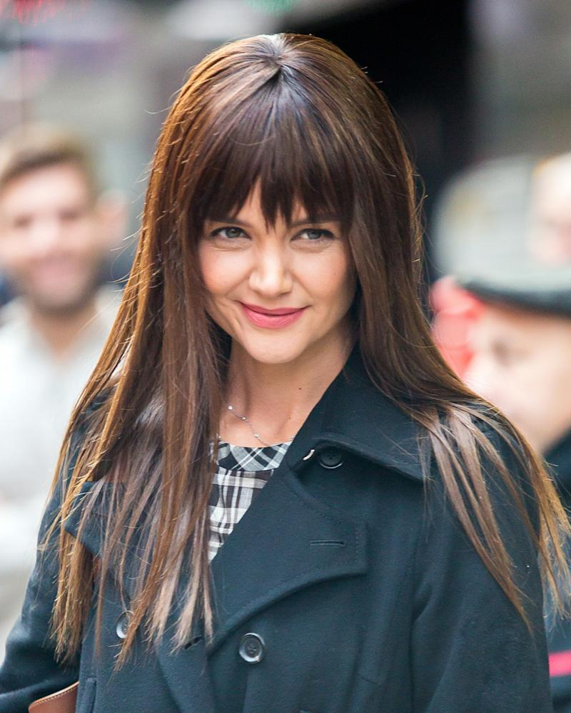 Katie holmes debuts new fringed hairstyle katie holmes appeared on good morning america on tuesday morning in new york city winobraniefo Image collections